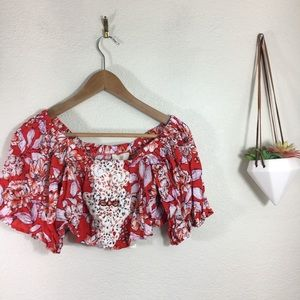 NWT LF | Native Rose Bonnie red floral crop top